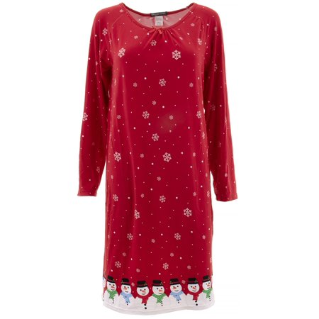 Elegant Emily Womens Red Snowman Snowflake Long Nightgown ()