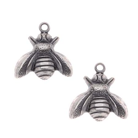 Antiqued Silver Plated Stamping Honey Bee Charms 13mm (2)