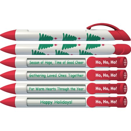 Christmas Pen by Greeting Pen- Christmas Tree Holiday Rotating Message Pen - 6 Pack (36060) - Christmas Pens