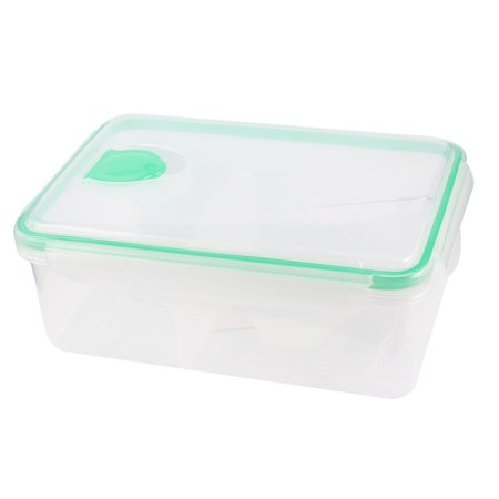 Unique Bargains Unique Bargains Portable Picnic Green Clear Plastic Hole Design Meal Lunch Pail Box