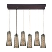 Jerard 6-Light Rectangular Pendant Fixture in Oil Rubbed Bronze with Textured Glass Shade