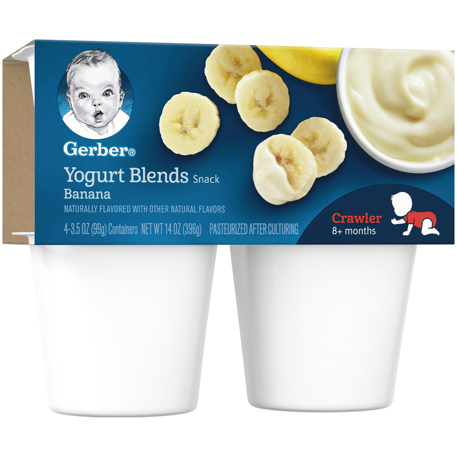 Gerber Yogurt Blends Snack, Banana, 3.5 oz Cups, 4 Count