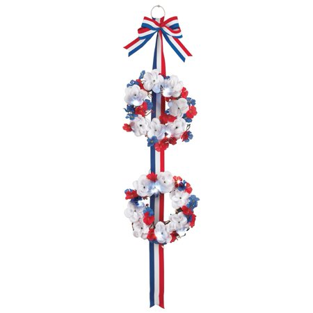 Lighted Sparkling Patriotic Roses Double Wreath, Multi