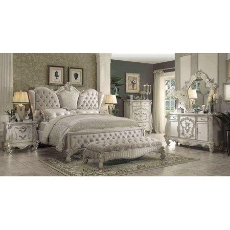 Acme Furniture 21127EK Versailles Ivory Velvet & Bone White King Bedroom Set 3Pc