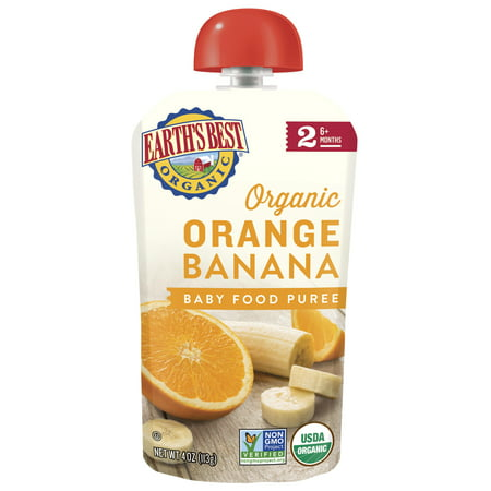 Earth's Best Organic Stage 2, Orange Banana Puree, 4 Ounce