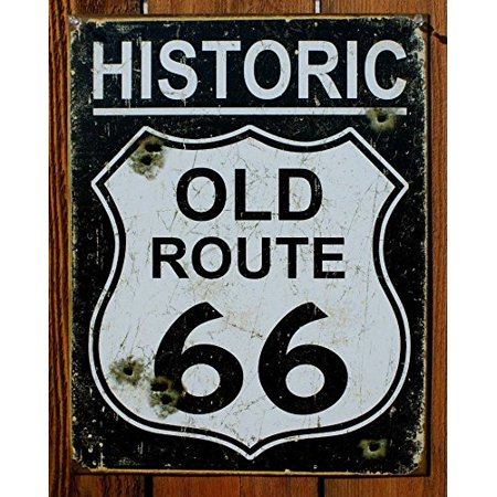 Old Route 66 - Weathered Tin Sign 13 x 16in