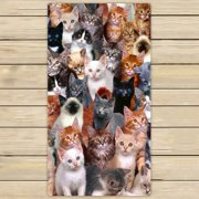 GCKG Cats Background Towels,Beach Bath Pool Sprot Travel Hand Spa Towel Size 16x28 inches
