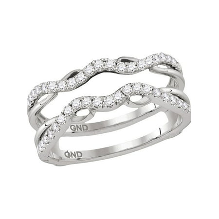 14kt White Gold Womens Round Diamond Ring Guard Wrap Solitaire Enhancer 1/3 Cttw - image 1 of 1