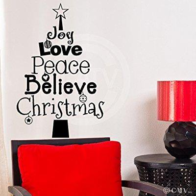 (christmas tree words (joy, love, peace, believe, christmas) wall saying vinyl lettering home decor decal stickers quotes)