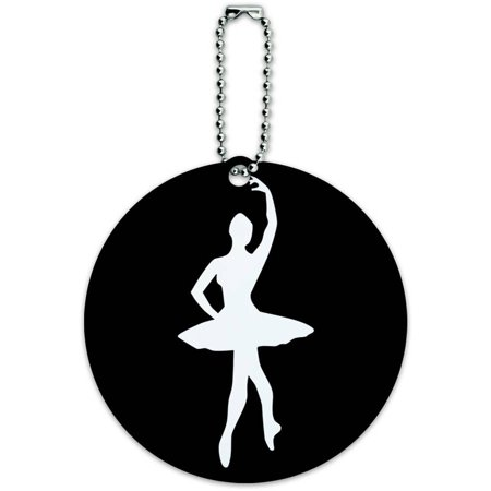 Ballerina Tag - Ballet Ballerina Round Luggage ID Tag Card for Suitcase or Carry-On