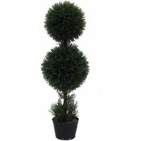 Vickerman 3' Artificial Double Ball Green Cedar Topiary Potted in a Black Planters Pot, UV-Resistant