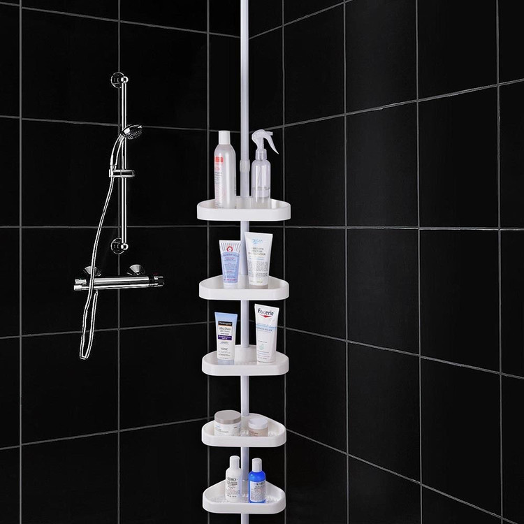 5-Tier Plastic White Bathroom Bathtub Shower Caddy Holder Corner Rack Shelf Organizer by