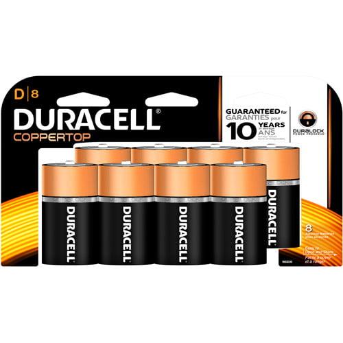 Duracell CopperTop D Alkaline Batteries, 8 count