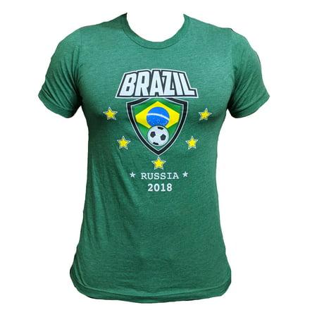 Men's Brazil Soccer Team World Cup 2018 Slim Fit T-shirt (M) W4 Brazil Soccer World Cup
