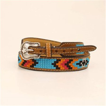 M&F Western 204044 0.75 in. Fabric Overlay Genuine Leather Hatband, Medium -