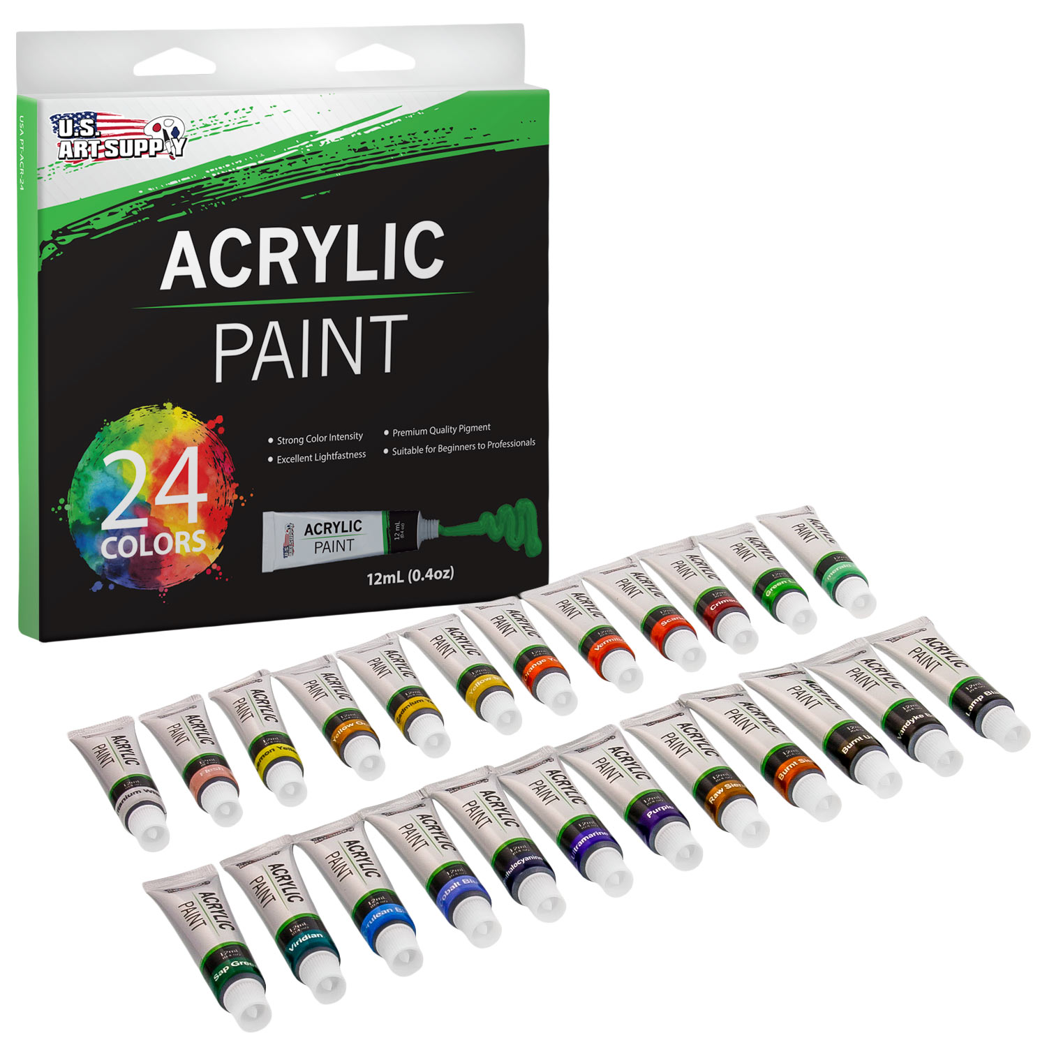 24 Color Set of Acrylic Paint in 12ml Tubes - Rich Vivid Colors for Artists, Students