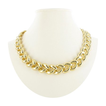 Gold Tone Chunky Curved Curb Link Collar Choker Necklace 18