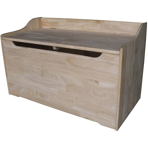 International Concepts Medium Toy Storage Box with Curved Top, Unfinished