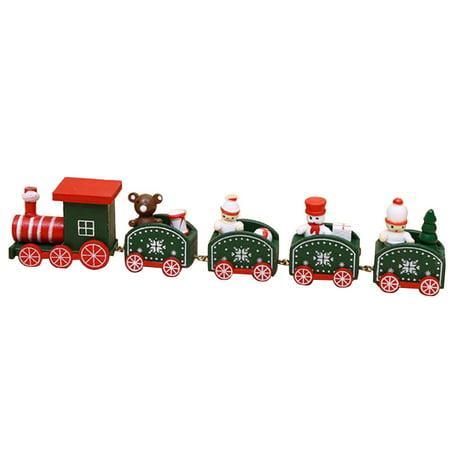 New Amusing Wood Christmas Xmas Train Decoration Decor Gift Children Stitching Toys AG (Train Themed Decorations)