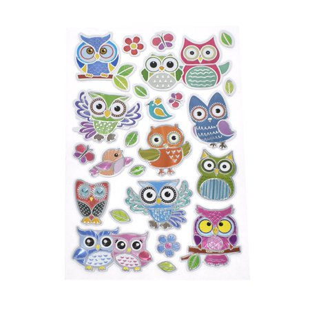 Mania Sticker - Owl Mania Foil Laser Embossed Stickers, 24-Piece