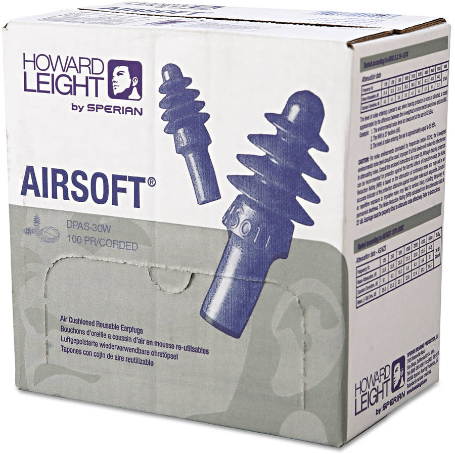 Howard Leight by Honeywell DPAS-30W AirSoft Multiple-Use Earplugs, 27NRR, White Nylon Cord, Blue, 1000/Carton