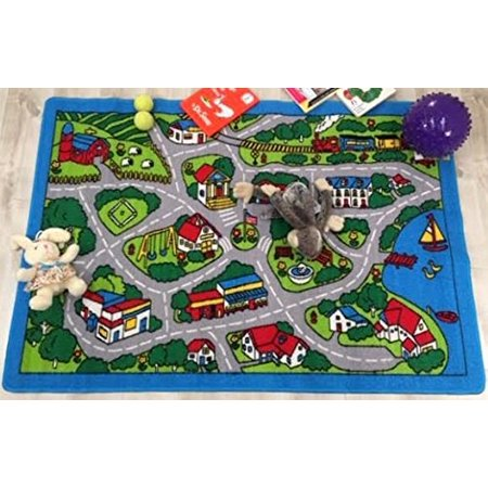 Hr Kids Driving Fun Neiborhood Map  Non Slip Gel Back Educational Area Rug