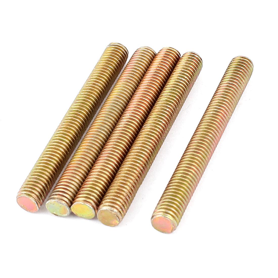 1.25mm Pitch M8 x 70mm Metal Male Threaded Rod Bar Bronze Tone 5 Pcs