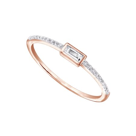 1/10Ct Real Baguette Cut And Round Cut Diamond 10k Rose Gold Engagement Wedding Stackable Band (Baguette Diamond Wedding Ring)
