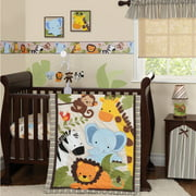 Lambs & Ivy Bedtime Originals, Jungle Buddies 3 Piece Crib Bedding Set, Brown
