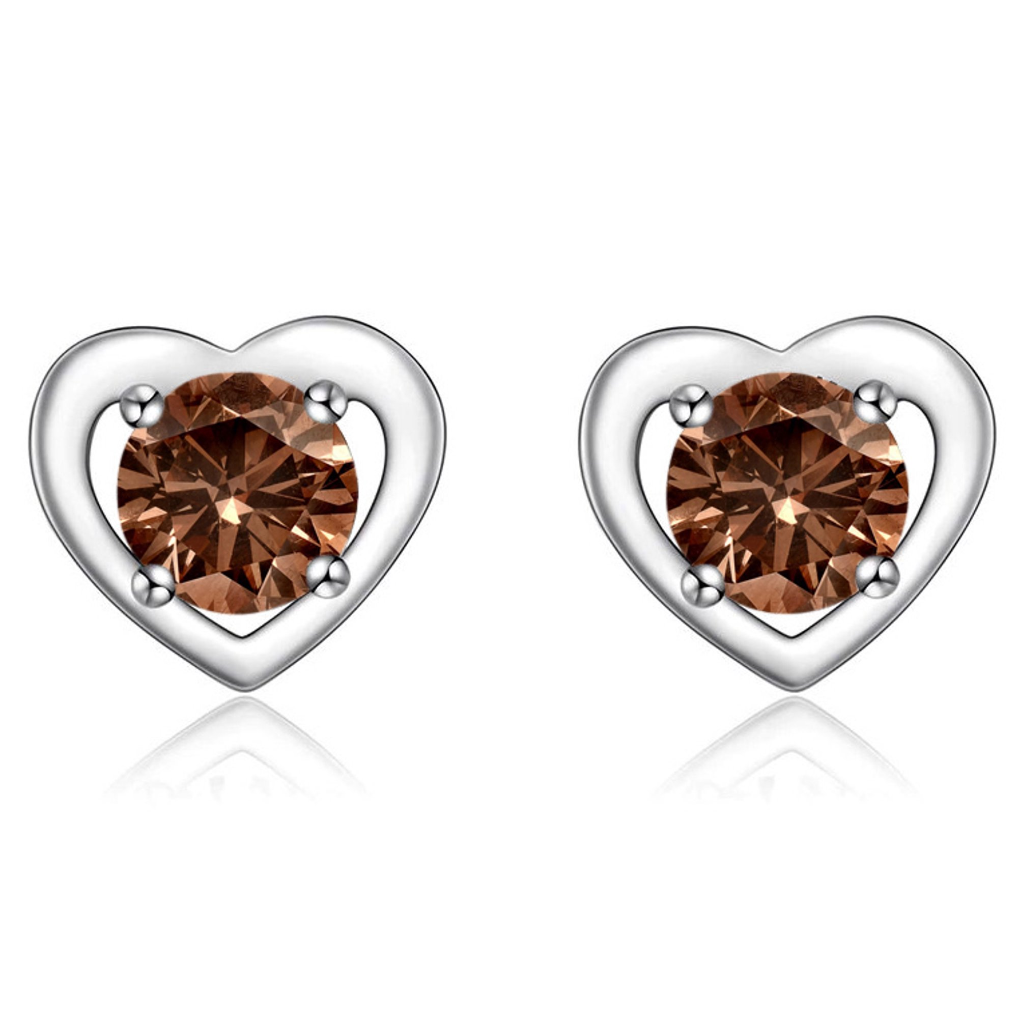 Heart Shape 50 Carat Round Brilliant Brown Diamond Stud Earrings In 10k White Gold Walmart Canada