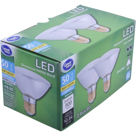 Great Value LED Indoor Floodlight Light Bulbs, 7W (50W Equivalent), Soft White, Dimmable, 2 Count ()