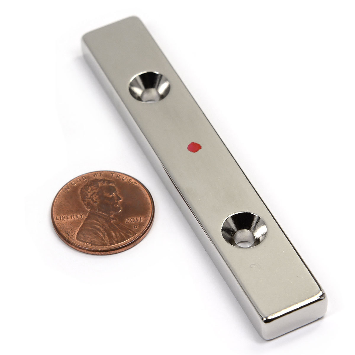 """CMS Magnetics 31lbs 3""""x1 2""""x1 4"""" Neodymium Bar Magnet With 2 #6... by"""