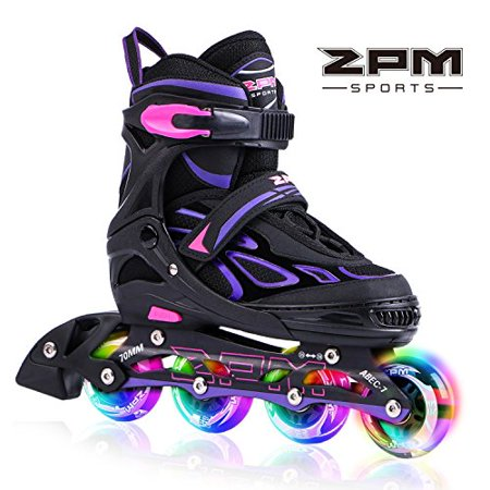 Wheels And Blades - 2pm Sports Vinal Girls Adjustable Flashing Inline Skates, All Wheels Light Up, Fun Illuminating Rollerblades for Kids and Ladies - Violet L