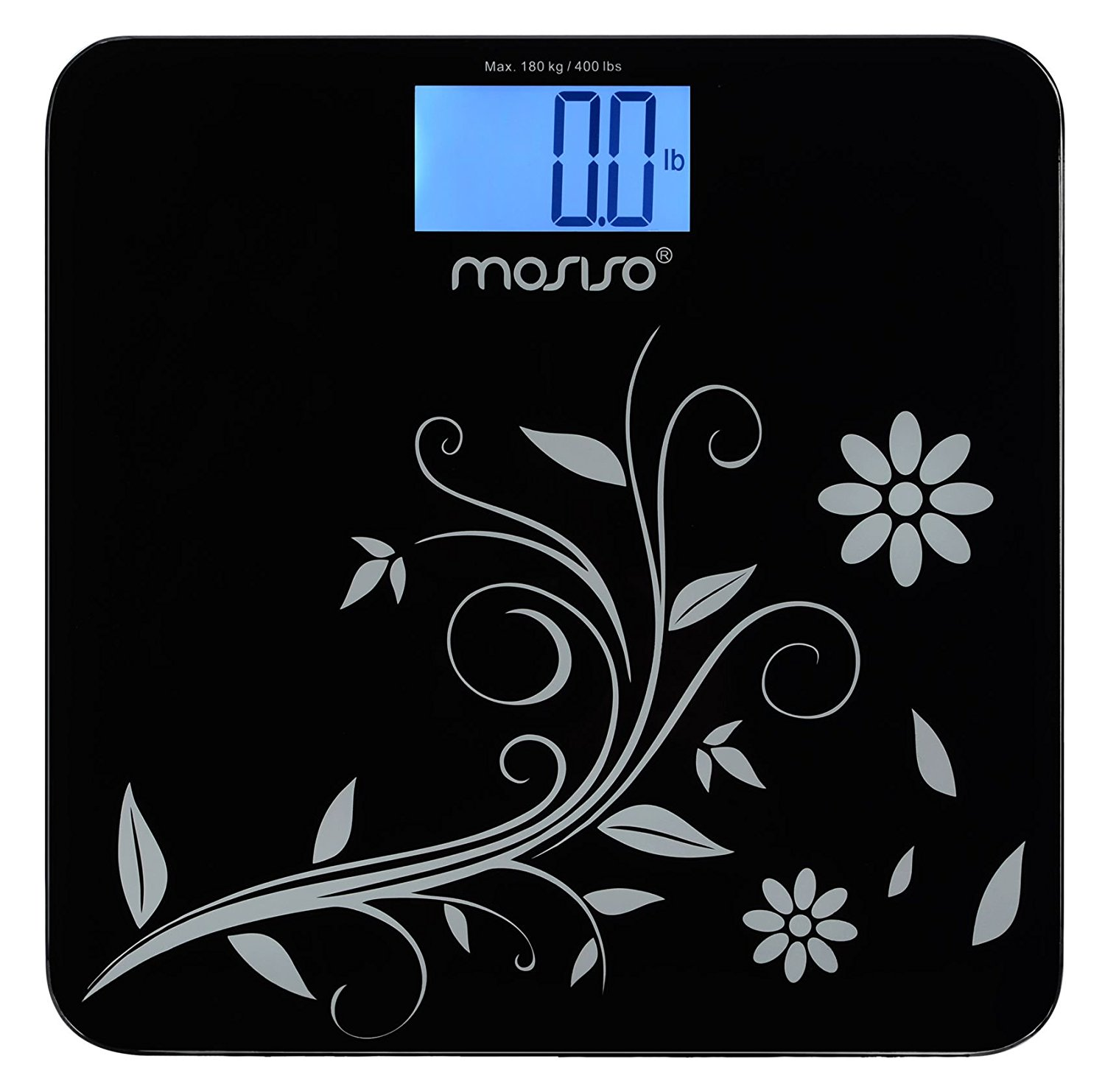 "Mosiso - High Accuracy Digital Bathroom Scale with 4.3"" Blue Backlight Display and ""Smart Step-On"" Technology [Newest Version] (Black)"