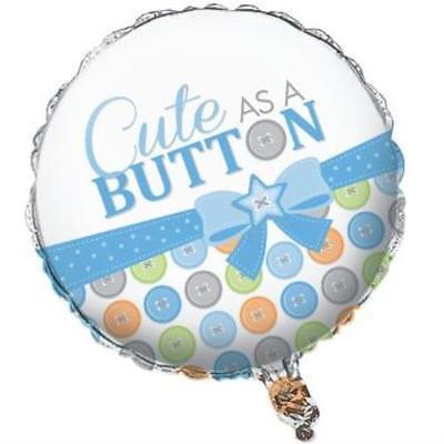 - Cute As A Button Boy Foil Balloon, 4PK