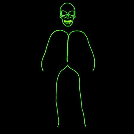 GlowCity Skull Face Stick Figure Costume Lighting Kit With Mask For Parties, Yellow - Small - 3-5 FT Tall