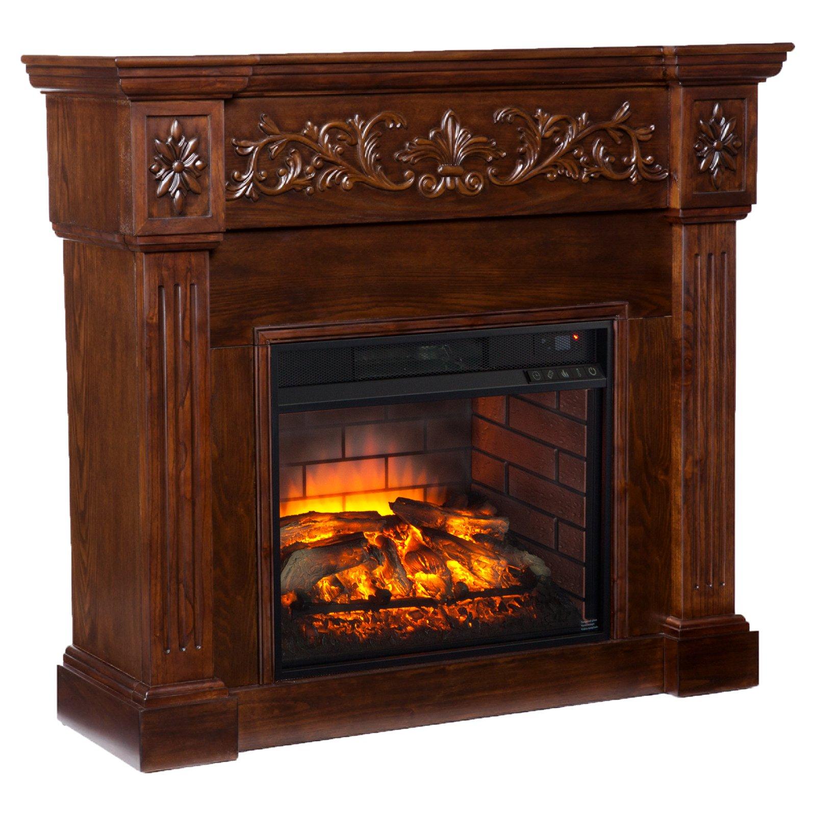 Southern Enterprises Calvert Carved Infrared Electric Fireplace by Southern Enterprises
