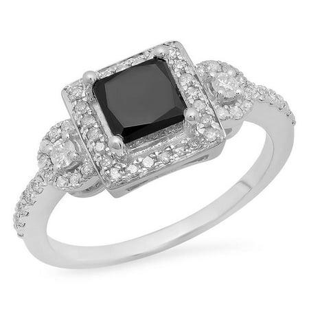 Dazzlingrock Collection 1.90 Carat (ctw) 10K Princess & Round Black & White Diamond Engagement Ring, White Gold, Size 4.5