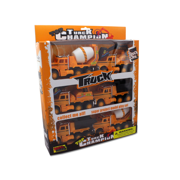 6-Pc Friction Powered Construction Truck Set by Kole Imports