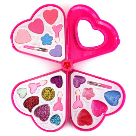 Fashion Girl Heart Mirror Case Pretend Play Toy Make Up Case Kit, Safe, Non-Toxic, Washable, Formulated for Children - Chinese Girl Makeup For Halloween