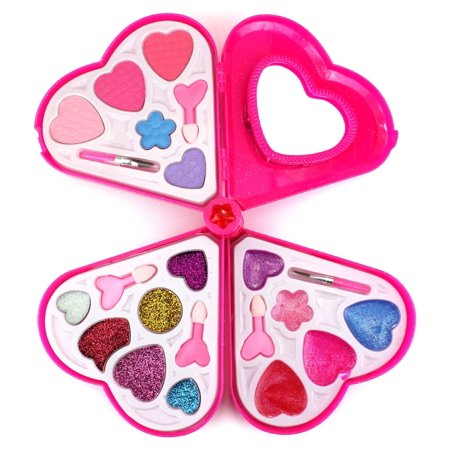 Halloween Makeup For Kids Girl (Fashion Girl Heart Mirror Case Pretend Play Toy Make Up Case Kit, Safe, Non-Toxic, Washable, Formulated for)