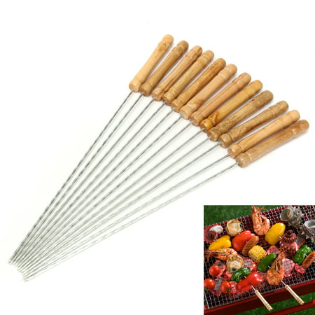 - 12Pcs Steel Metal BBQ Roast Barbecue Skewer Grill Kebab Needles Stick Wood Handle