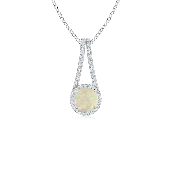 October Birthstone Pendant Necklaces Long V Bale Cabochon Opal and Diamond Halo Pendant in 950 Platinum (6mm Opal)... by Angara.com