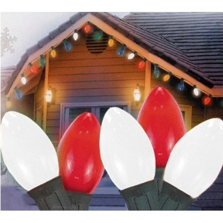 Set of 25 Opaque Red and White Candy Cane C9 Christmas Lights ...