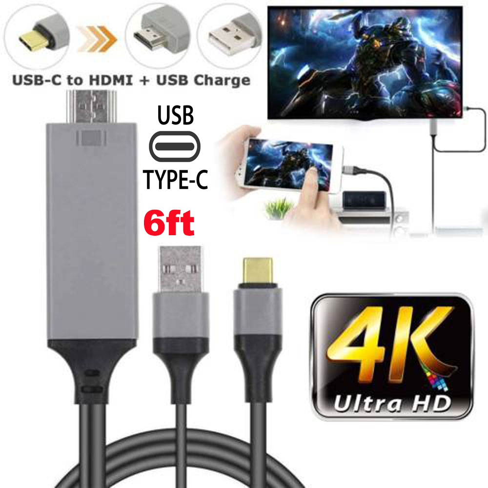 USB 3.1 Type C to HDMI Adapter MHL Cable For Samsung Galaxy S9//S9 Plus