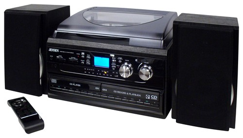 Jensen 3-Speed Turntable CD AM FM Music System Cassette Encoding, Dual Cd Loading, CD-R RW... by Jensen