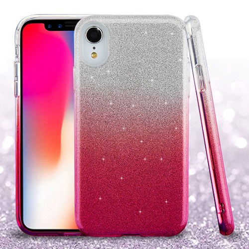 "Apple iPhone XR (6.1 Inch) Phone Case Slim HYBRID Bling Glitter Candy Silicone Rubber Gel Hard Protective Case Cover - Pink Gradient Glittering Phone Case for Apple iPhone Xr (6.1"")"
