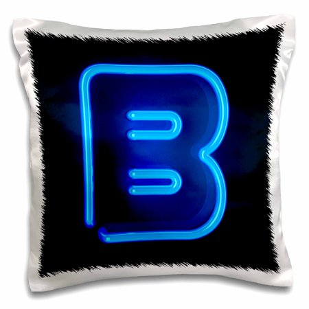 - 3dRose Monogram letter B abstract neon blue lit shining illuminated - Pillow Case, 16 by 16-inch