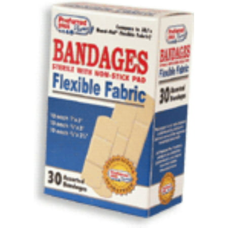 Bandages Flexible Fabric Sterile  with Non-Stick Pads, Assorted 30 ea