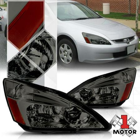 Smoke Tinted Headlight Amber Corner Turn Signal Reflector for 03-07 Honda Accord 04 05 06 ()